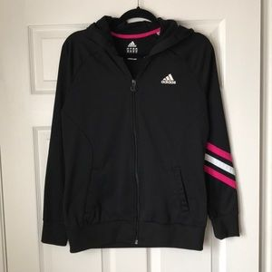 Adidas black hooded zippy with pink stripe